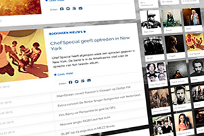 Close up of the Agents After All website, Artist Management and Booking Agency