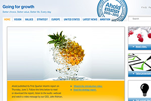 Close up of the Ahold microsite