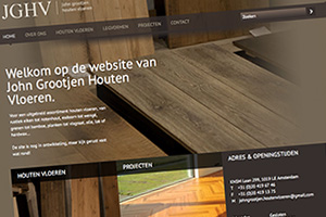 Close up of the John Grootjen Houten Vloeren website