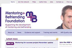 Close up of the Mentoring and Befriending Foundation website